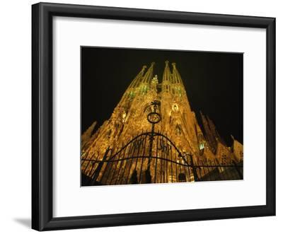 A Night View of Gaudis Temple Expiatori De La Sagrada Familia
