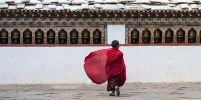 A Young Monk Walking Through a Monastery by Michael Melford