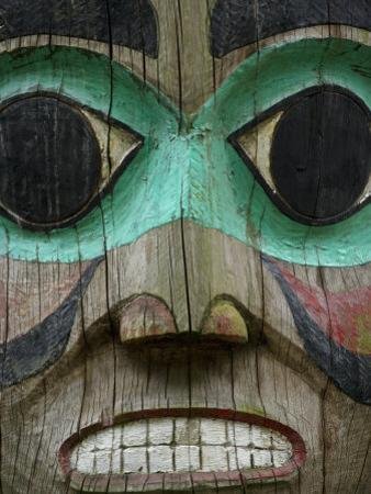 Carved Wooden Face at the Governor's Mansion in Juneau, Alaska
