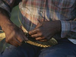 Close View of a Basket Weaver at Work by Michael Melford