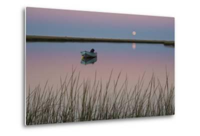 Moonrise at Sunset and a Lone Boat in Salt Pond Bay, Eastham, Cape Cod, Massachusetts