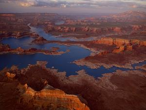 Scenic Aerial of Lake Powell and Rock Formations by Michael Melford