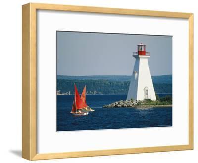 Small Sailboats Racing Past a Lighthouse