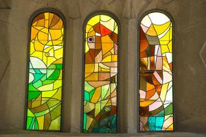 Stained Glass Arched Windows in La Sagrada Familia Catedral by Michael Melford