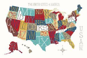 Colorful USA Map by Michael Mullan