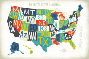 Letterpress USA Map by Michael Mullan
