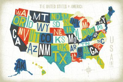 Letterpress USA Map by Michael Mullan