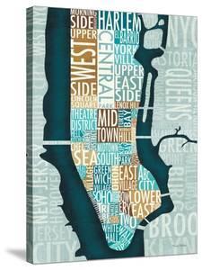 Manhattan Map Blue Brown by Michael Mullan
