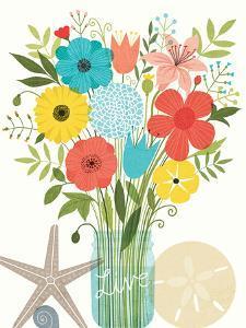 Seaside Bouquet I Mason Jar by Michael Mullan