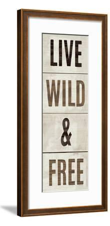Wood Sign Live Wild and Free on White Panel