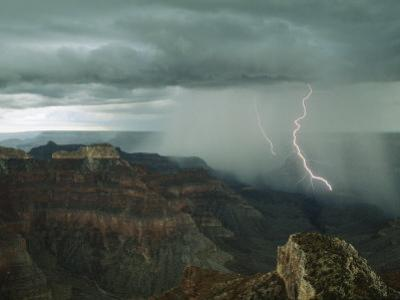 Lightning Arcs into the Grand Canyon's Depths Near Point Sublime by Michael Nichols