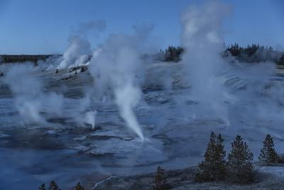 Steam Fills the Night Air in the Porcelain Basin at Yellowstone's Norris Geyser Basin
