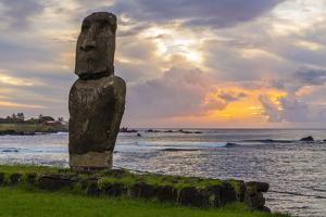 A Single Moai at Fisherman's Harbor in the Town of Hanga Roa by Michael Nolan