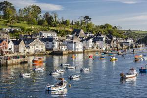 Early Morning Light on Small Boats at Anchor in the Harbour at Fowey, Cornwall, England by Michael Nolan