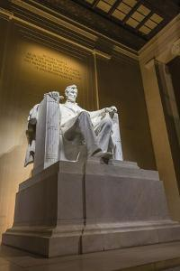 Interior of the Lincoln Memorial Lit Up at Night by Michael Nolan