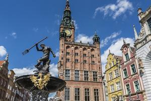 King Neptune Statue in the Long Market, Dlugi Targ, with Town Hall Clock, Gdansk, Poland, Europe by Michael Nolan