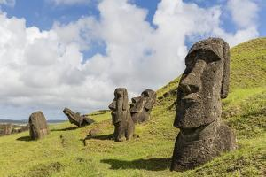 Moai Sculptures in Various Stages of Completion at Rano Raraku by Michael Nolan