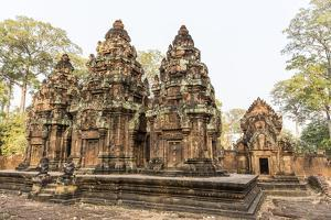 Ornate Carvings in Red Sandstone at Banteay Srei Temple in Angkor, Siem Reap, Cambodia by Michael Nolan