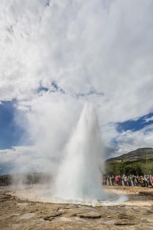 Tourists Gather to Watch Strokker Geyser (Geysir), an Erupting Spring at Haukadalur, Iceland