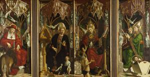 Fathers ofChurch Altar. Totale.Churchfathers: Hieronymus, Augustinus, Gregor and Ambrosius by Michael Pacher