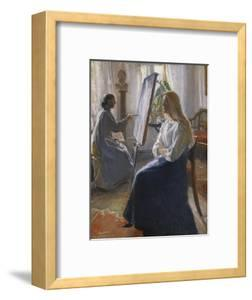 In the Studio; Anna Ancher, the Artist's Wife Painting by Michael Peter Ancher