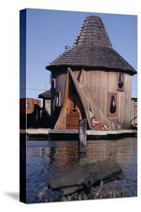 1971: Floating-Home Owner Mary Holt Sunbathes on the Deck of Her House, Sausalito, California by Michael Rougier