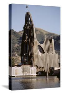 1971: View of a Sculpted Floating House Built by Chris Robert, Sausalito, California by Michael Rougier