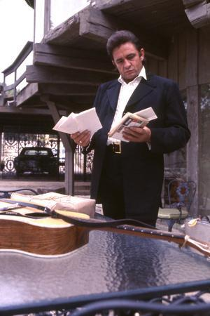 August 1969: Country Singer Johnny Cash Outside His Home Near Nashville, Tennessee