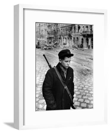 Boy Freedom Fighter Carrying Rifle During Hungarian Revolution Against Soviet Backed Government