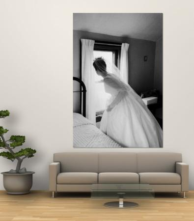 Bride Prepares For Wedding, in Traditional White Gown, 19th Century Wedding Dress