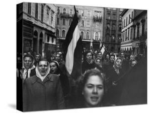 Budapest Rebel Demonstrators, During Revolution Against Soviet-Backed Hungarian Regime by Michael Rougier