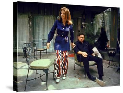 Country Western Singer Johnny Cash and Wife June Carter at Home