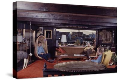 Floating-Home Owner Warren Owen Fonslor with Two Men in His Living Room, Sausalito, CA, 1971
