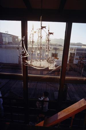 Glass Suncatcher, in the Form of a Three-Masted Ship, in Floating Home, Sausalito, CA, 1971