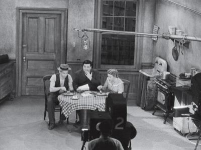 """Jackie Gleason, Art Carney and Audrey Meadows in Cramden Apartment, Eating, on """"The Honeymooners"""""""