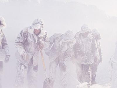 Men in the Bitter Cold at a Station in Antarctica