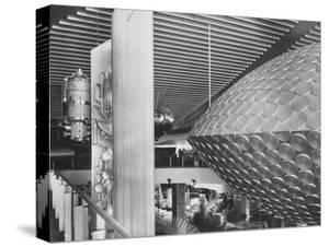 Russian Pavilion with Satellite Models and Saucer Like Space Theatre by Michael Rougier