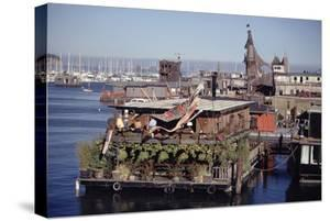 Two-Story Floating Home Covered in Hanging and Potted Plants, Sausalito, CA, 1971 by Michael Rougier