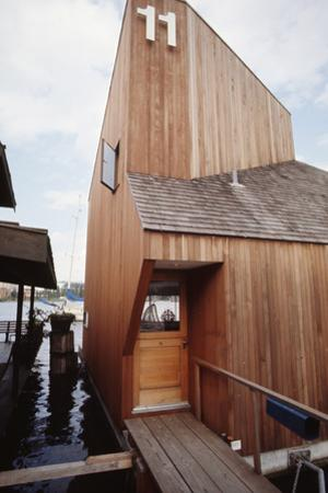 View of the Front Door and Facade of a Wooden Floating Home in Portage Bay, Seattle, Wa, 1971