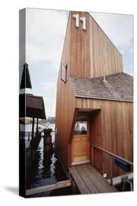View of the Front Door and Facade of a Wooden Floating Home in Portage Bay, Seattle, Wa, 1971 by Michael Rougier