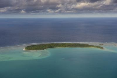 Aerial of Aitutaki lagoon, Rarotonga and the Cook Islands, South Pacific, Pacific by Michael Runkel