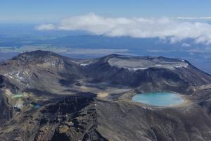 Aerial of the Colourful Tama Lakes in the Tongariro National Park, North Island, New Zealand by Michael Runkel