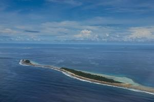 Aerial of the country of Tuvalu, South Pacific by Michael Runkel
