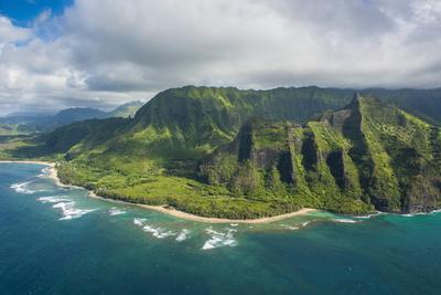 Aerial of the Napali Coast, Kauai, Hawaii, United States of America, Pacific