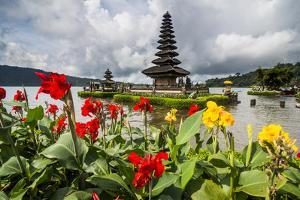 Blooming flowers before the Pura Ulun Danu Bratan temple, Bali, Indonesia, Southeast Asia, Asia by Michael Runkel