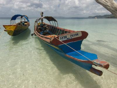 Boats on Coast in Turquoise Water, Havelock Island, Andaman Islands, India, Indian Ocean, Asia