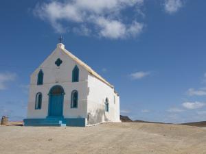 Bright Church at Sandy Beach, Pedro Da Sal, Sal, Cape Verde, Africa by Michael Runkel