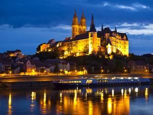 Castle of Meissen at Night Above the River Elbe, Saxony, Germany, Europe by Michael Runkel