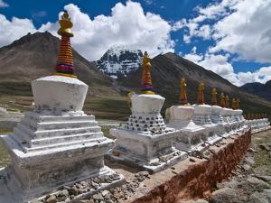 Chortens, Prayer Stupas Below the Holy Mountain Mount Kailash in Western Tibet, China, Asia by Michael Runkel