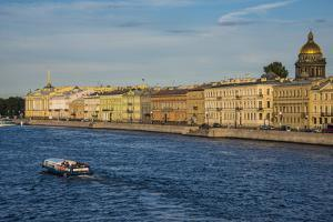City Center of St. Petersburg from the Neva River at Sunset by Michael Runkel